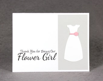 Flower Girl Thank You Card, Thank You for being our Flower Girl Card, Die Cut Dress Notecard, LS1