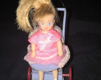 Vintage Doll Buggy with Rubber Doll
