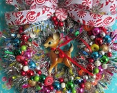 REsERVED for MB...ONLY!!!..Vintage Bambi Reindeer Christmas Wreath..Super Bright and Colorful!!!...Handmade and OOak!!