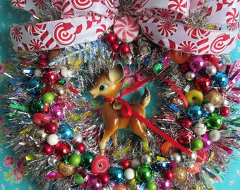 SUPer SALE...Vintage Bambi Reindeer Christmas Wreath..Super Bright and Colorful!!!...Handmade and OOak!!