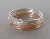 Silver Gold Stackable Ring Set - Skinny midi rings, Sterling gold stacking rings