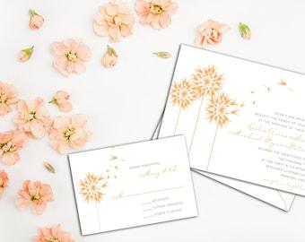 Floating Dandelions Wedding Invitation Set, Floral Wedding, Garden Wedding Invites, Wedding Response cards, Thank you cards, Casual Wedding