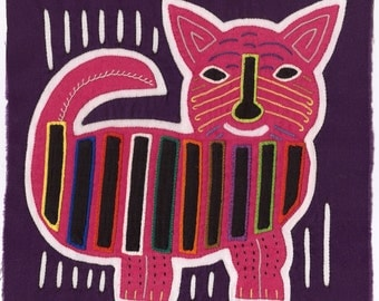 Super-Adorable Pink Mola Cat on Purple - Kuna Indian Reverse Applique Mola/Molita