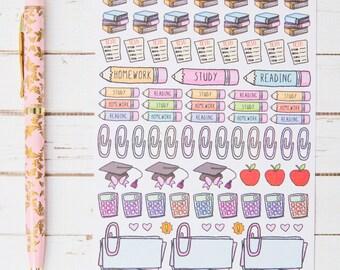 School Homework Tracking MATTE Sticker Sheet | For Kikki K, Erin Condren, FiloFax or other Journals and Planners