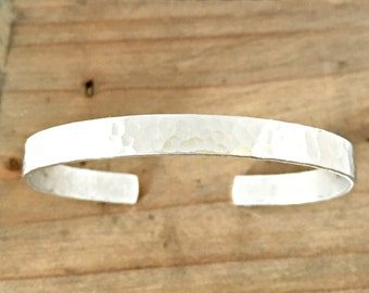 Hammered cuff bracelet for him or her - personalized hammered cuff bracelet - stacking cuff - customized inside message - jewelry