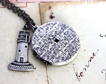 lighthouse. locket necklace. silver ox jewelry round locket