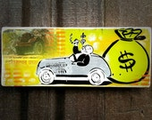 Monopoly Graffiti Art Painting on Canvas Pop Art Style Original Artwork Stencil Urban Street Art Uncle Pennybags