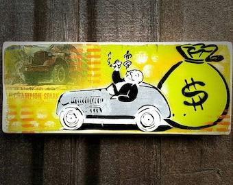 Monopoly CUSTOM ORDER Graffiti Art Painting on Canvas Pop Art Style Original Artwork Stencil Urban Street Art Uncle Pennybags
