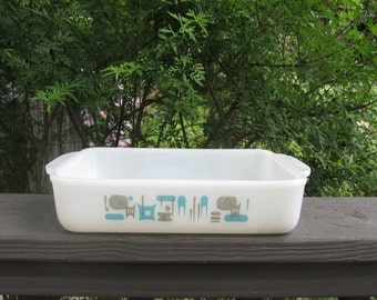 Vintage Blue Heaven Baking Dish - 1970s Fire King