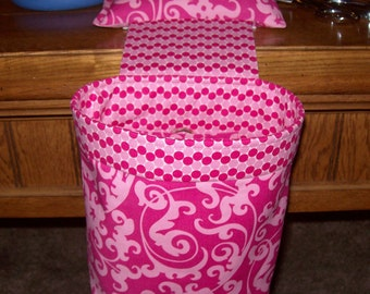 Scrap Caddy // Thread Catcher // Scrap Bag Pincushion // Pink Swirl Damask With Rubberized Gripper Strip