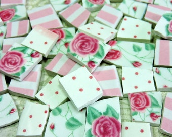 China Mosaic Tiles - SHaBBY CoTTaGE CHiC PiNK RoSeS - 105 Vintage Plate Tiles