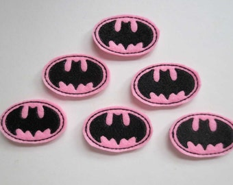 Bat Silhouette Matchine Embroidered Felt Applique Embellishments - 293