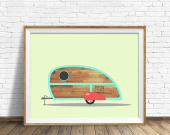 Teardrop Camper - drawing, art print, vintage camper, large art, large wall art, modern, contemporary, mid century modern, wall art, prints