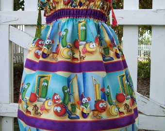 My Carrie Creations Shirred Dress made with Veggie Tales Fabric