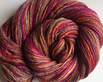 Handspun singles yarn 4.1ozs 448yards sport/sock weight merino silk