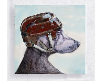 Boom Boom Jake - Weimaraner Print - Dog Art - Weimaraner with Hockey Helmet - Canvas Print on 5x5 Art Block - Animal Art -  Mini Wall Art