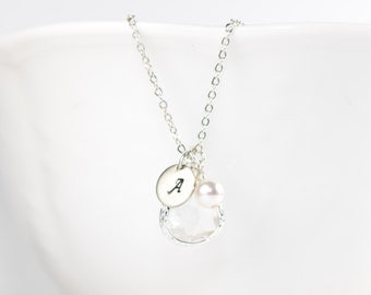 April Birthstone Silver Necklace, Crystal Necklace, April Birthday Jewelry, Personalized Silver Necklace, April Birthday Gift #869