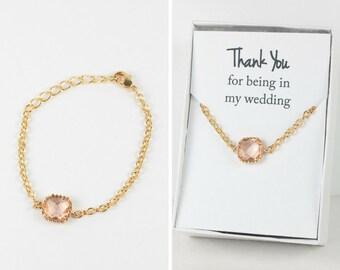 Peach Gold Bracelet, Champagne Gold Bracelet, Bridesmaid Peach Bracelet, Gold Bracelet, Bridesmaid Bracelet, Bridesmaid Jewelry
