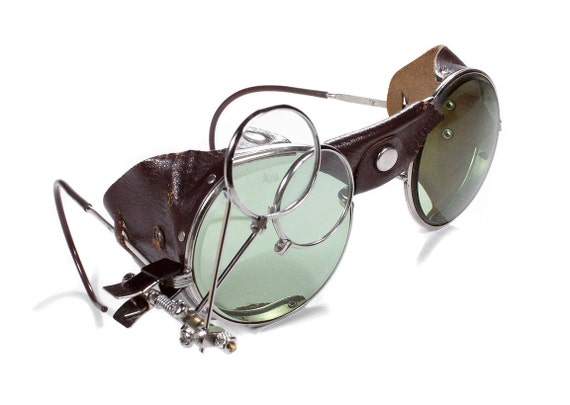 Steampunk Goggles ANTIQUE American Optical Steam Punk Glasses GREEN Tint Brown Leather Side Shields Loupes Burning Man Biker - by edmdesigns