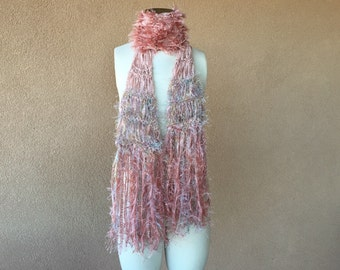 Dusty Rose Scarf - Blended Linen Scarf, Pink, Silver, Cream Crickets Scarf or Choose from Over 100 Scarf Styles and Colors
