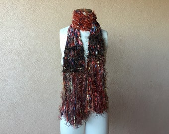 Knit Ribbon Scarf Brown, Rust, Copper, Burnt Orange, Champagne, Black for Women Accessories with Metallic Fringe