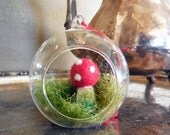 Needle Felted Terrarium Toadstool Ornament, Holiday Decorations, Moss and Mushroom Ornament, Ready to Ship