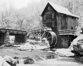 West Virginia Mill in Snow Large Format Photo Babcock State Park Glade Creek Grist Mill 4x5 View Camera
