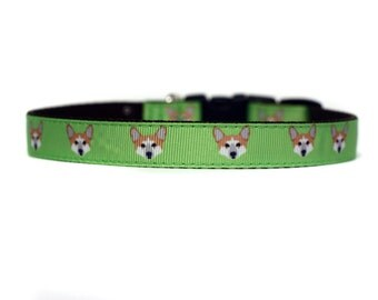 5/8 or 3/4 Inch Wide Dog Collar with Adjustable Buckle or Martingale in Corgi Faces an Exclusive Design