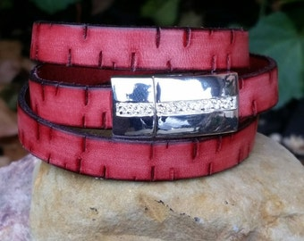 Leather Wrap Bracelet Red 10mm Flat Bark Leather Triple Wrap Cuff Bracelet with Magnetic Clasp