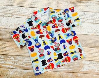 Boys Super Hero Bowling Shirt -  sizes 2T thru 10