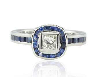 Diamond Engagement Ring - Bezel set Princess cut Diamond Ring with Channel-set Blue Sapphire Halo and Shank in 14k White Gold - LS4484