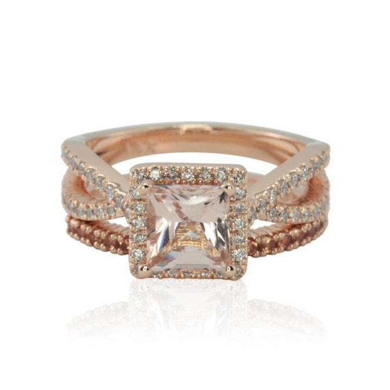 morganite ring princess cut morganite engagement ring