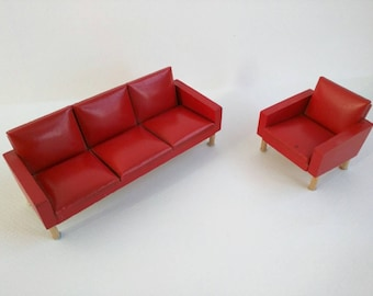 RARE 1966 Lundby Red Mock Leather Sofa and Chair 1:16 Scale