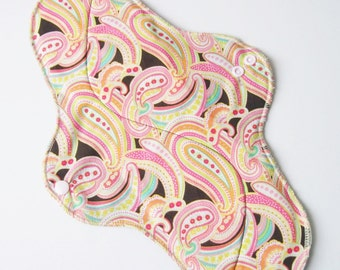 Mama Cloth Pad With Wings .. 14 inches Postpartum Heavy Flow - Pink & Orange Summer Paisley FREE SHIPPING