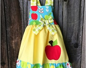 Back To School Girl Dress, Back To School Girl Outfit, Back To School Apple Dress, Back To School Girl Clothes
