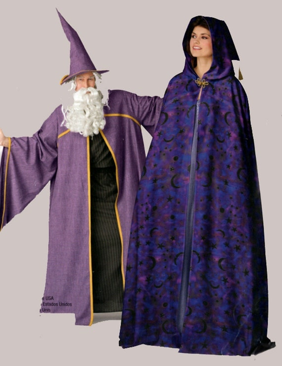 So Easy Hooded Cape for Misses or Men Wizard Hobbit Cape and Hat Pattern Simplicity 327 Size XS-XL UNCUT