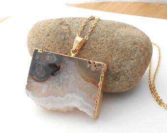 Natural Agate Necklace, Long Gold Druzy Necklace, Large Raw Gemstone Pendant, Boho Necklace