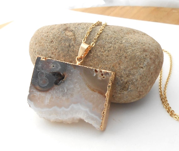 Natural Agate Necklace, Long Gold Druzy Necklace, Large Raw Gemstone Pendant, Boho Necklace
