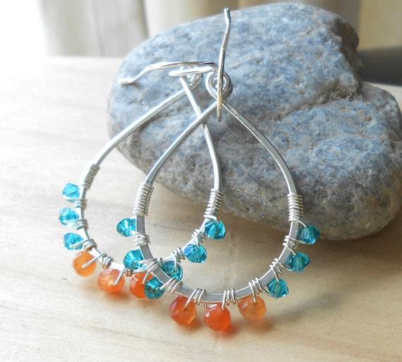 Silver Teardrop Hoop Earrings, Wire Wrapped Teal and Orange Sterling Silver Beaded Dangle Hoops, Artisan Boho Bohemian Jewelry