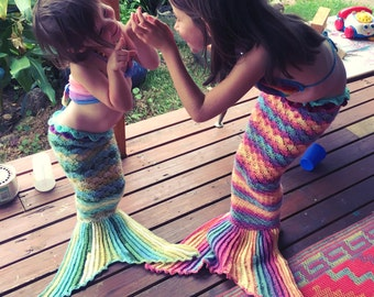 LaMalaTae custom crochet Mermaid Tail - handmade rainbow photo prop, pretend play mermaid tail costume for babies, toddlers & children.