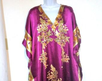 Vintage Kaftan 80s Made in Pakistan Size L to XL to XXL Purple Kaftan Earth Mother