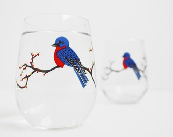 Bluebird Glassware - Set of 2 Hand Painted Stemless Glasses, Mother's Day, Fall Leaves, Bluebirds, Blue Birds, Bird Glasses, Tree Glasses