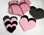 Valentine Hearts Kit Pink Stripe, Black and White Polka Dot, Pink Polka Dot