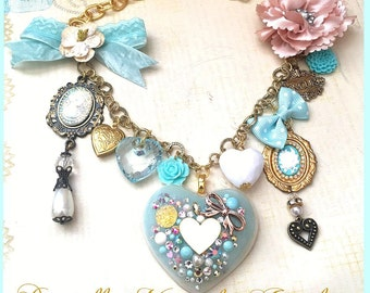 Sweet Marie Antoinette Floral Charm Necklace