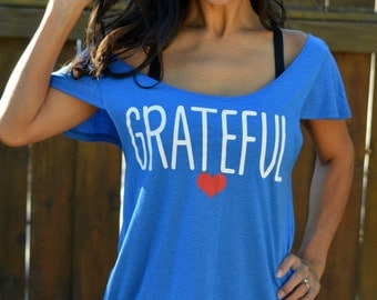 Grateful Shirt. Off the Shoulder Shirt. Flutter Sleeve Flowy Muscle Tee. Made in the USA. Multiple Colors Available. Firedaughter Clothing.