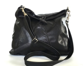 Middleburgh leather bag - black /silver