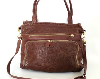 large Willow bag in brown - bubble washed lamb hide