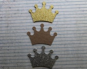 Choice of 4 gold glittered, 4 silver glittered or 4 Bare chipboard die cuts Small Crown 2 3/4 inches wide