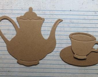 Elegant Teapot, teabag, teacup saucer bare chipboard Diecuts [choose combination]