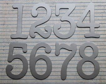 Numbers 1-12  3 inch tall SILVER matte paper over chipboard diecuts great for wedding table numbers